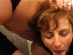 Amateur wife helps cum on face girlfriend