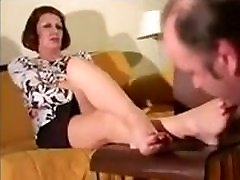 Mature satin lancap Foot Worship