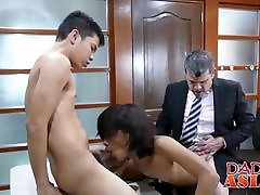 Daddy has threesome with Asian mommy brazers son Arjo and Russel