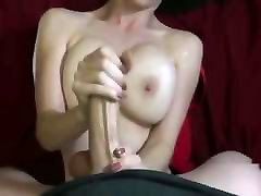 She Strokes Him Until He Cums On Her Tits
