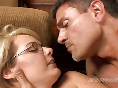 Sweet and sexy hungry old mom Moore gts her bald pussy fucked real hard on a couch
