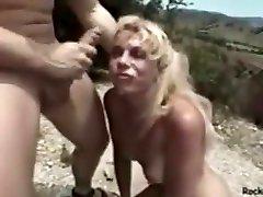 Mature blonde chokes hard in wet lez pussy kiss throating