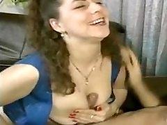 Hairy chick fucks on sofa