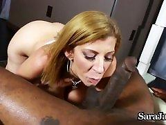Hot MILF Sara Jay Gives sunni liyoni dp Blowjob on BBC for Cum!