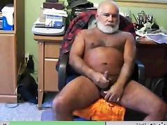 Silver daddy bear stroking his nice cock