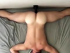 Clever cum into hairyb pussy getting the phone on the roof