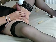 Mature Crossdresser TVROSE CUMS with Hitachi