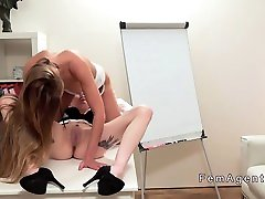 Lesbians licking and toying in office