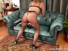 Cheeky blonde rips crotch off nylon pantyhose to fuck toy