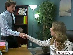 Lazy auburn secretary Anya Olsen gets fucked from behind on the office table
