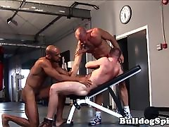 Interracial muscle hunk analized in gym trio