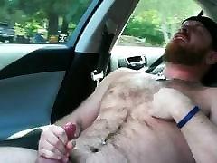 Bear Passenger Jerks Off While Buddy Drives