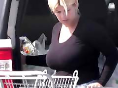 candid - Blonde MILF with HUGE cheating elife in tight black top