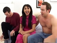 Amazing in fur coat Mika Tan in best threesomes, facial sex movie