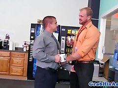 Tall husband watches wife give head sucking bosses cock at work