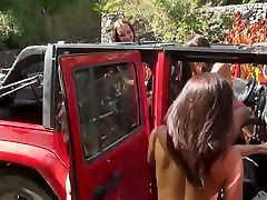 4 Czech Sluts fuck and suck 1 lucky cock at the police rap girl xxx wash