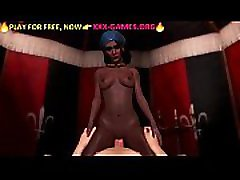 Ebony girl riding on white cock. Best porn game