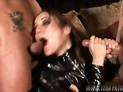 Amber Rain loves two hard cocks - sucking them both dry