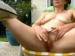 Mature wife patio play