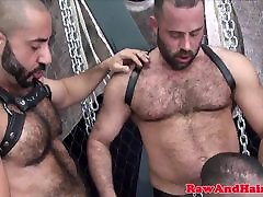 Bareback threeway bear ass toyed after trio