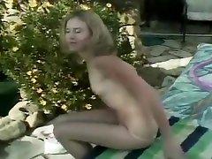 Flat Chested Blond Fake cock Masturbates