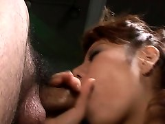 Lascivious squirting big dildo toys own snatch while giving wet blowjob