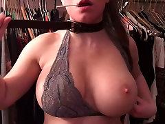 Sexy Girl big Tits choke herself BDSM