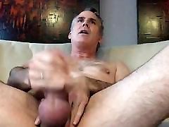 horny daddy jerking his thick dick