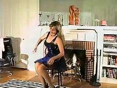 90s brunette teasing in lingerie