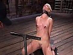 Blonde in bondage gets nipples tortured