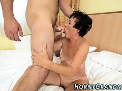 Mature grandma sucks dick