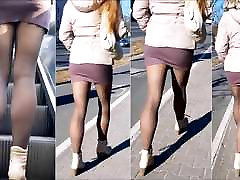 101 Girl with sexy legs in mini skirt and pantyhose