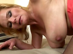 Busty mother takes big cock of young son