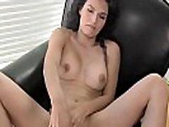 Classy lingeried tgirl solo milking cock