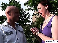 Mature try in the ass in stockings stripping for this lucky guy