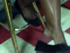 Ebony shoeplay tease