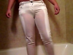 Pissing my white jeans!
