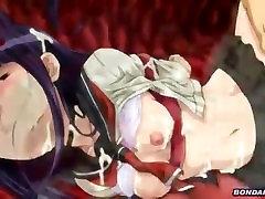 Schoolgirl gets a tentacle bukkake overload