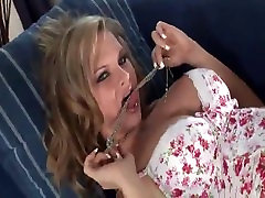 Blonde with big tits strips and masturbate