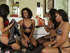 Sexy hotel camera invisible babes having a sleepover turns into all girl virgin torment