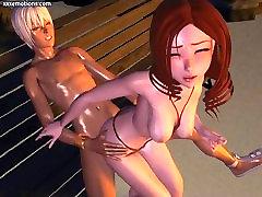 Big ass anime girl gives oral