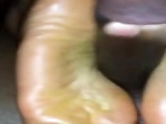 Ebony Teen Girlfriend Footjob