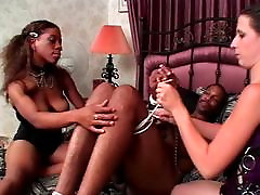 Ebony stud gets his cock bound to bed corners by casting frensh shy female and white female