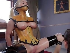 Tied up maid getting pussy licked