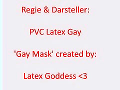 PVC Latex tranny renata arosio shows his new gay skeleton mask...