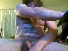 Beefy, bearded, hairy, uncut, longhaired, blue collar, stud cums on cam 1