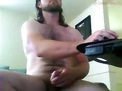 Beefy, bearded, hairy, uncut, longhaired, blue collar, stud cums on cam 12