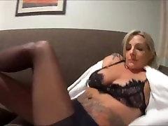 Nylon Video - Sexy Blondge Milf With Big Tits Puts On Nylons
