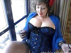 sexy bbw mom and son vagina clit open shows off stockings before anal toying, fucking, cumshaw