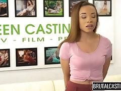 Ebony fucked hard in a cast